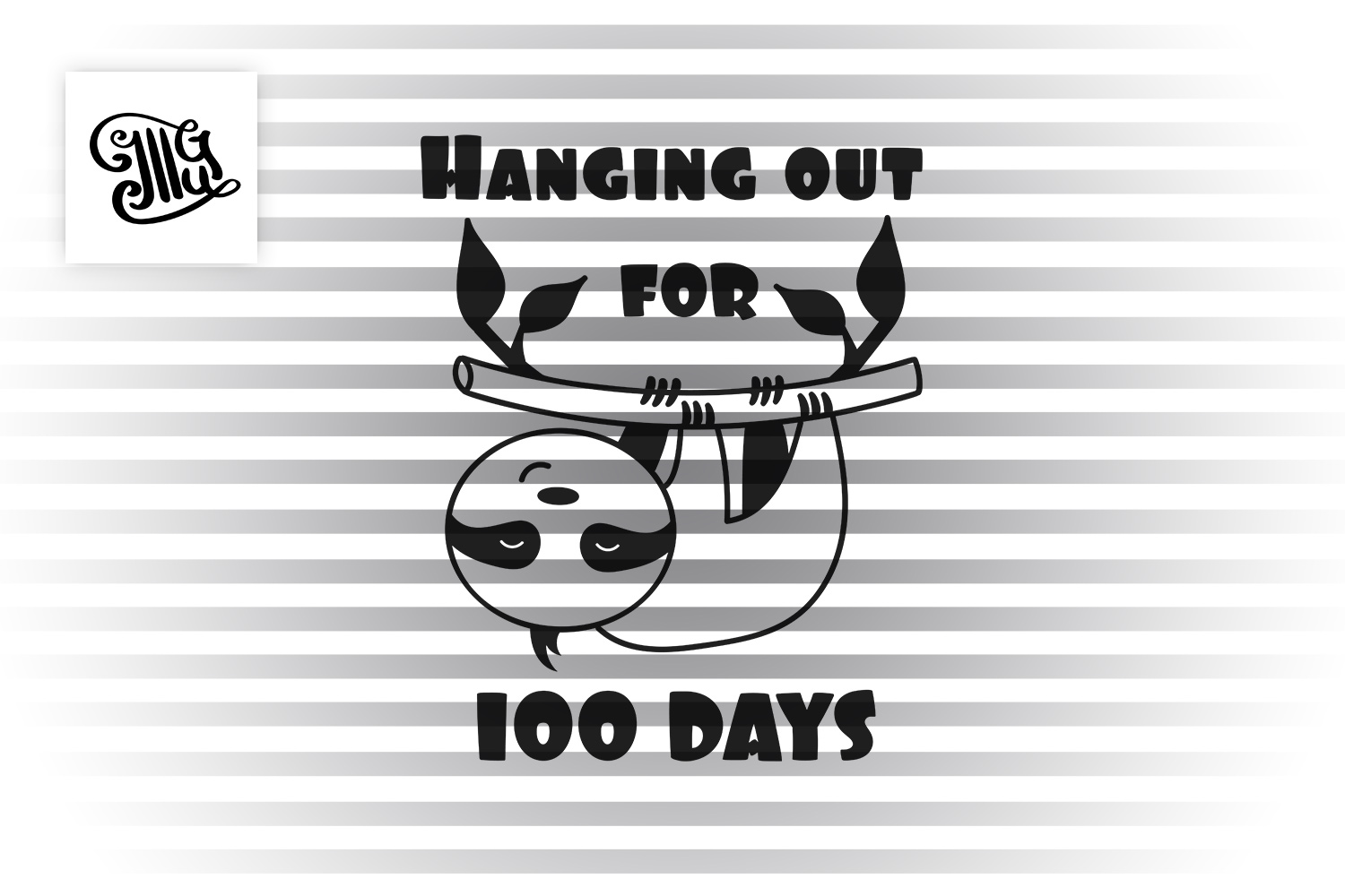 100 days of school for boy svg with sloth clipart example image 2
