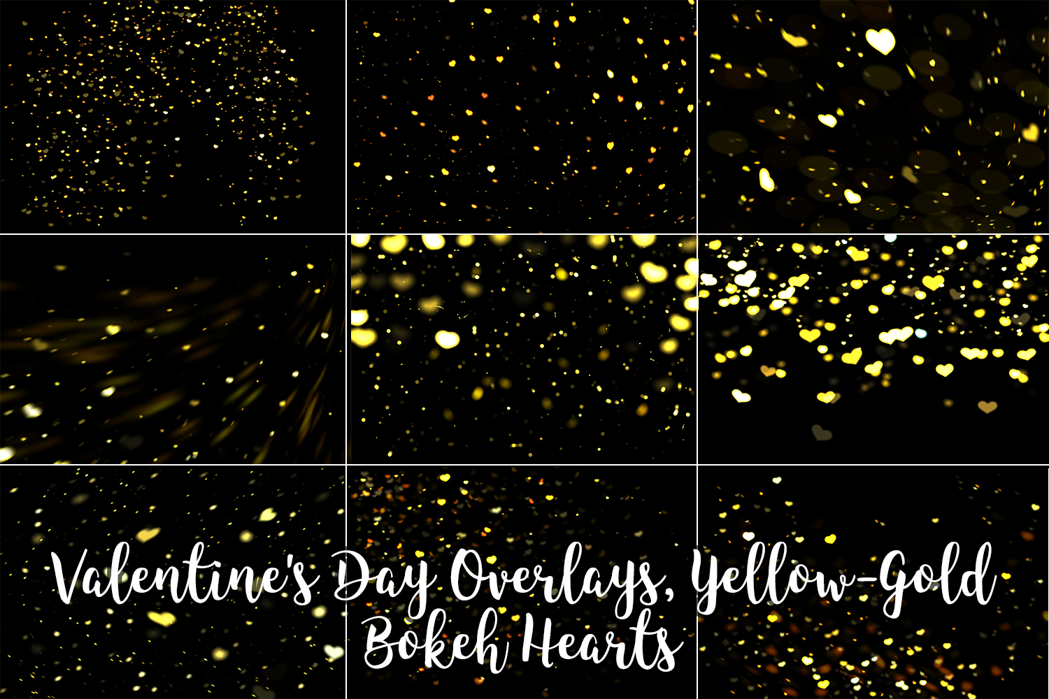 Valentine's Day Overlays, Yellow Gold Hearts Bokeh Overlays example image 2