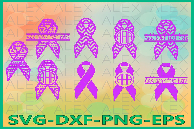 Cancer Ribbon Svg, Cancer Ribbon Monogram, Ribbon Svg example image 1
