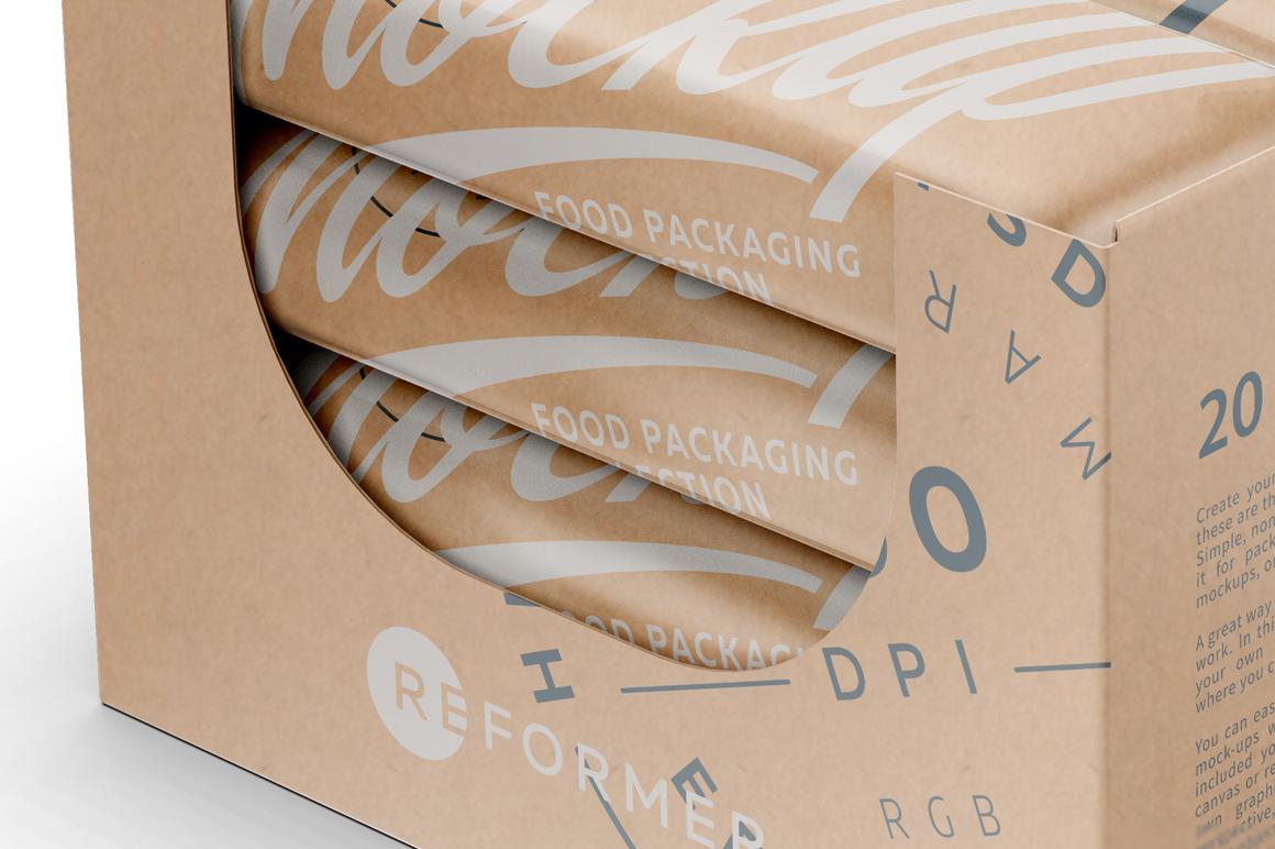 20 Kraft Snack Bars Display Box Mockup example image 6