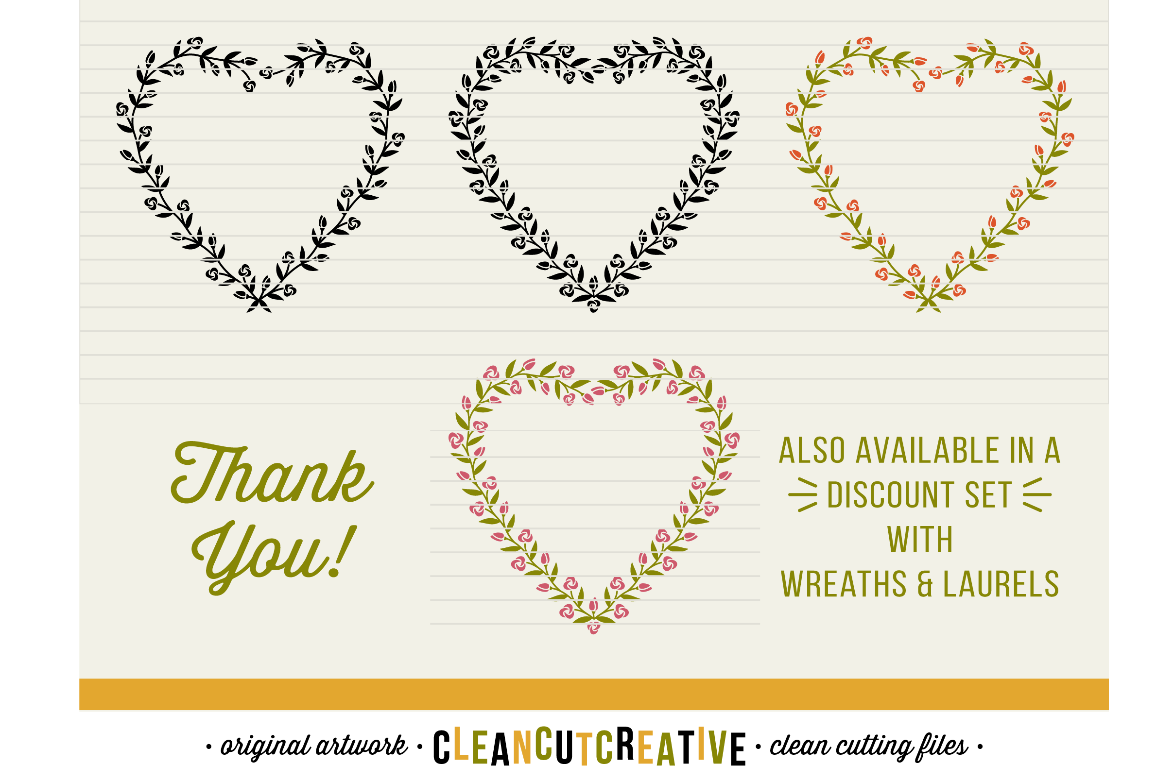 FLORAL MEGA BUNDLE 30 wreaths, laurels and hearts leaf frames - SVG DXF EPS PNG - for Cricut and Silhouette Cameo - clean cutting digital files example image 8