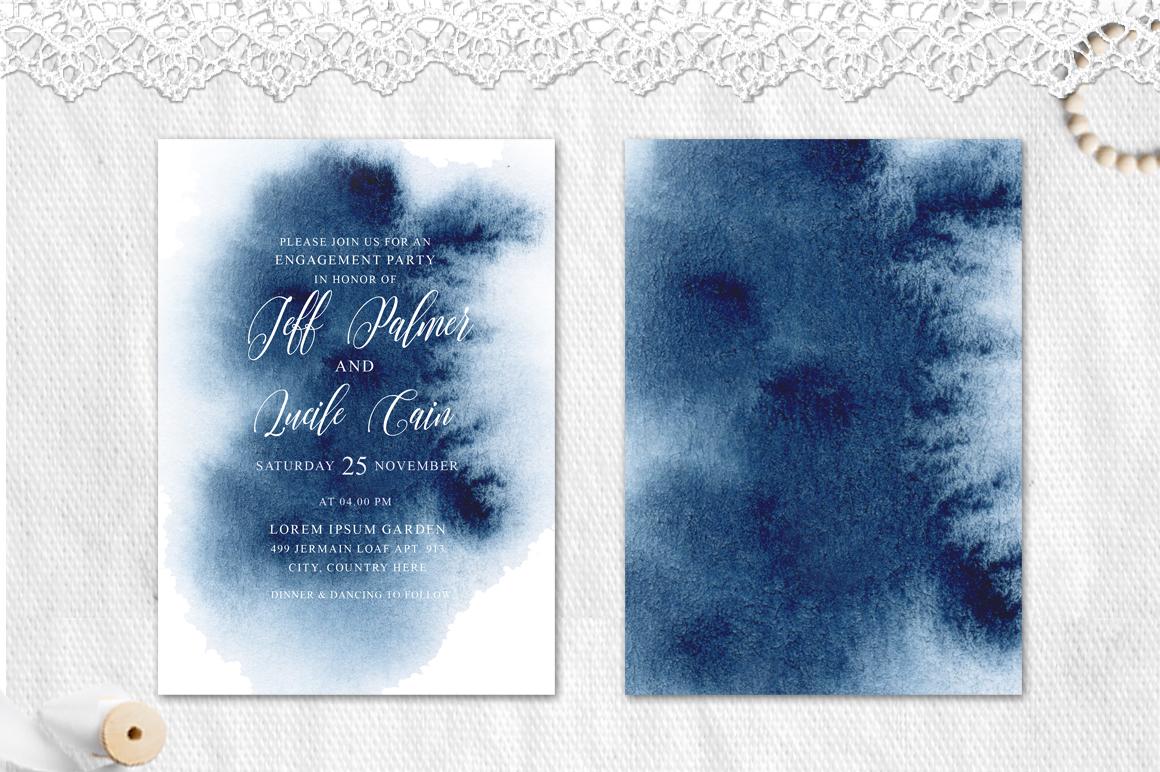 Indigo Watercolor Wedding Invitation suite example image 4