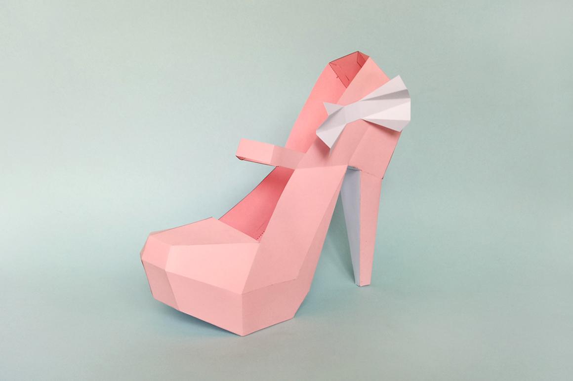 DIY Nude Pump shoes - 3d papercraft example image 3