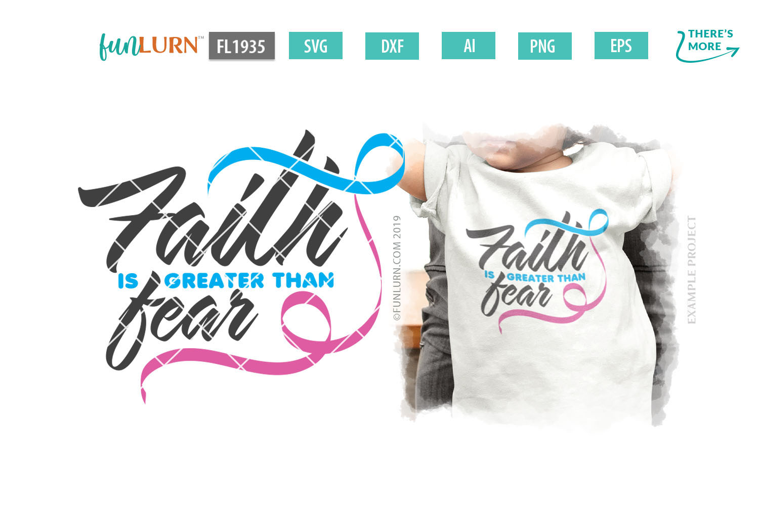 Faith is Greater Than Fear Blue and Pink Ribbon SVG Cut File example image 1