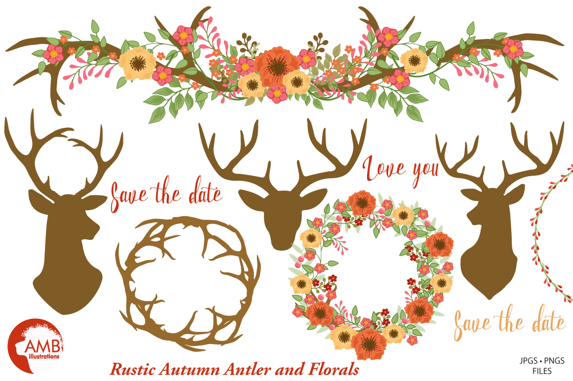 Autumn Antlers and Florals cliparts, graphics and illustrations AMB-1488 example image 4