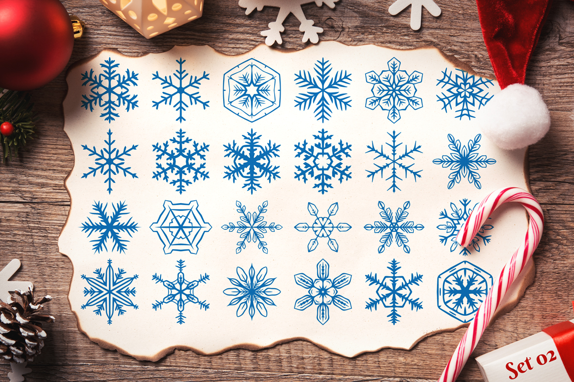 500 Snowflake Vector Ornaments example image 5