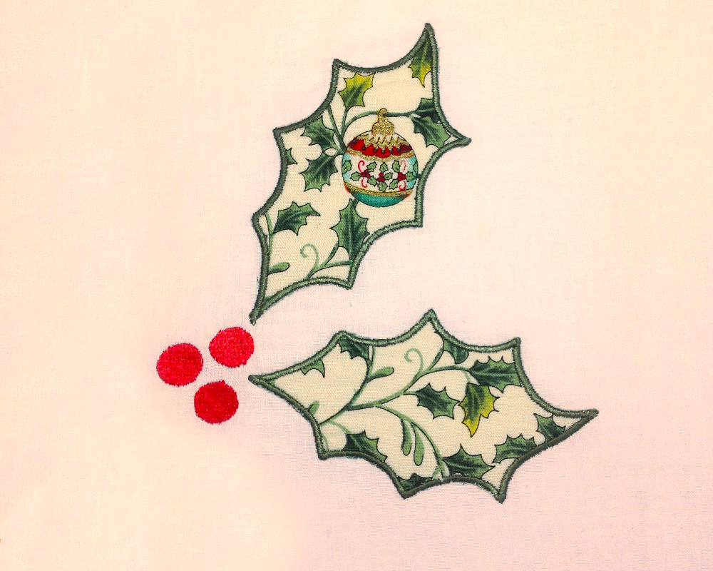 Holly Applique Embroidery Design example image 3