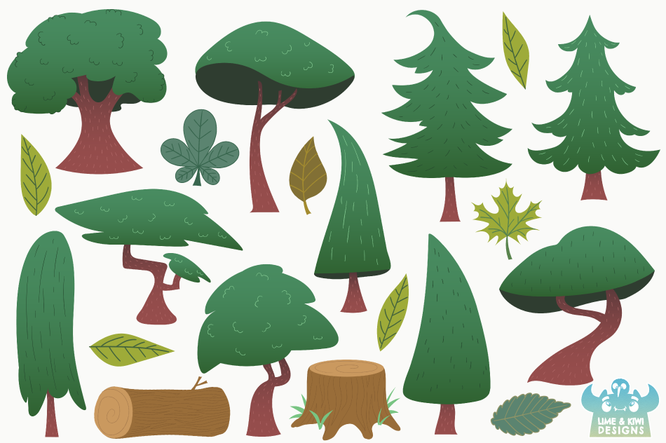 Summer Woodland Trees Clipart, Instant Download Vector Art example image 2