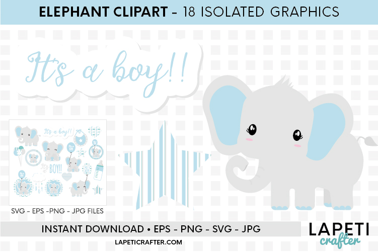 Baby Boy Elephant, gender reveal, baby shower clipart example image 4