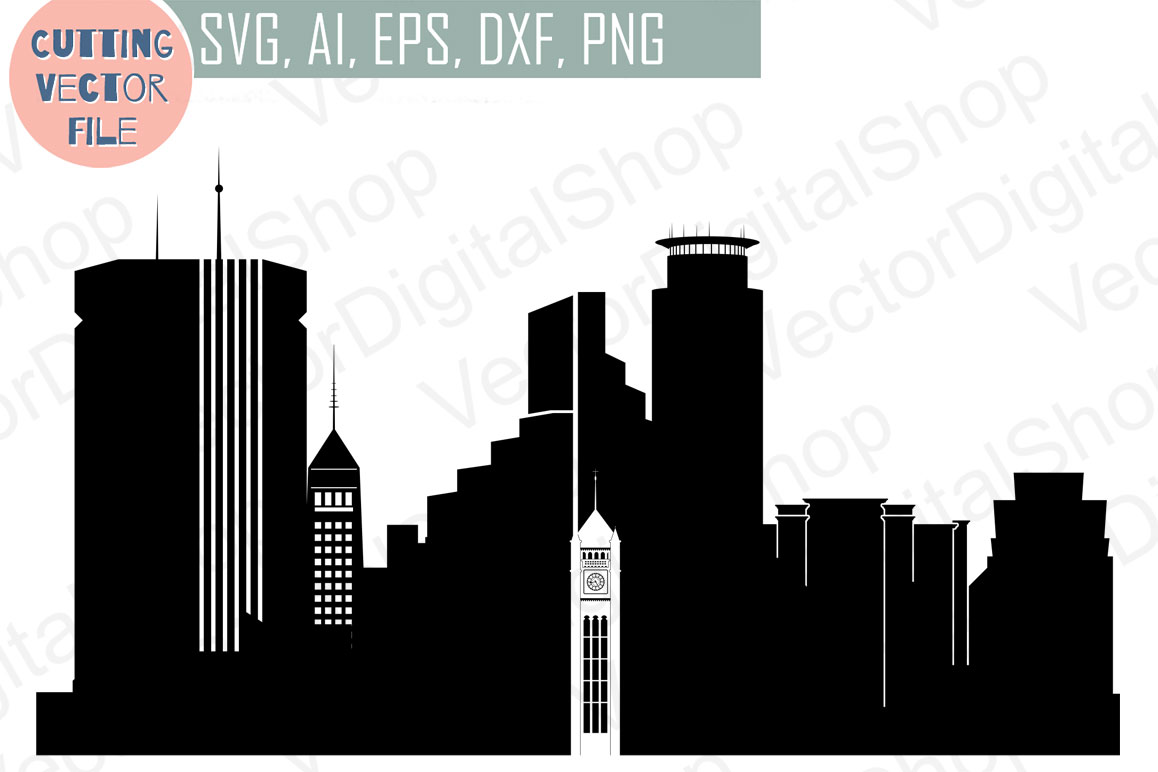 Minneapolis Vector, Minnesota Skyline USA city, SVG, JPG, PNG, DWG, CDR, EPS, AI example image 1