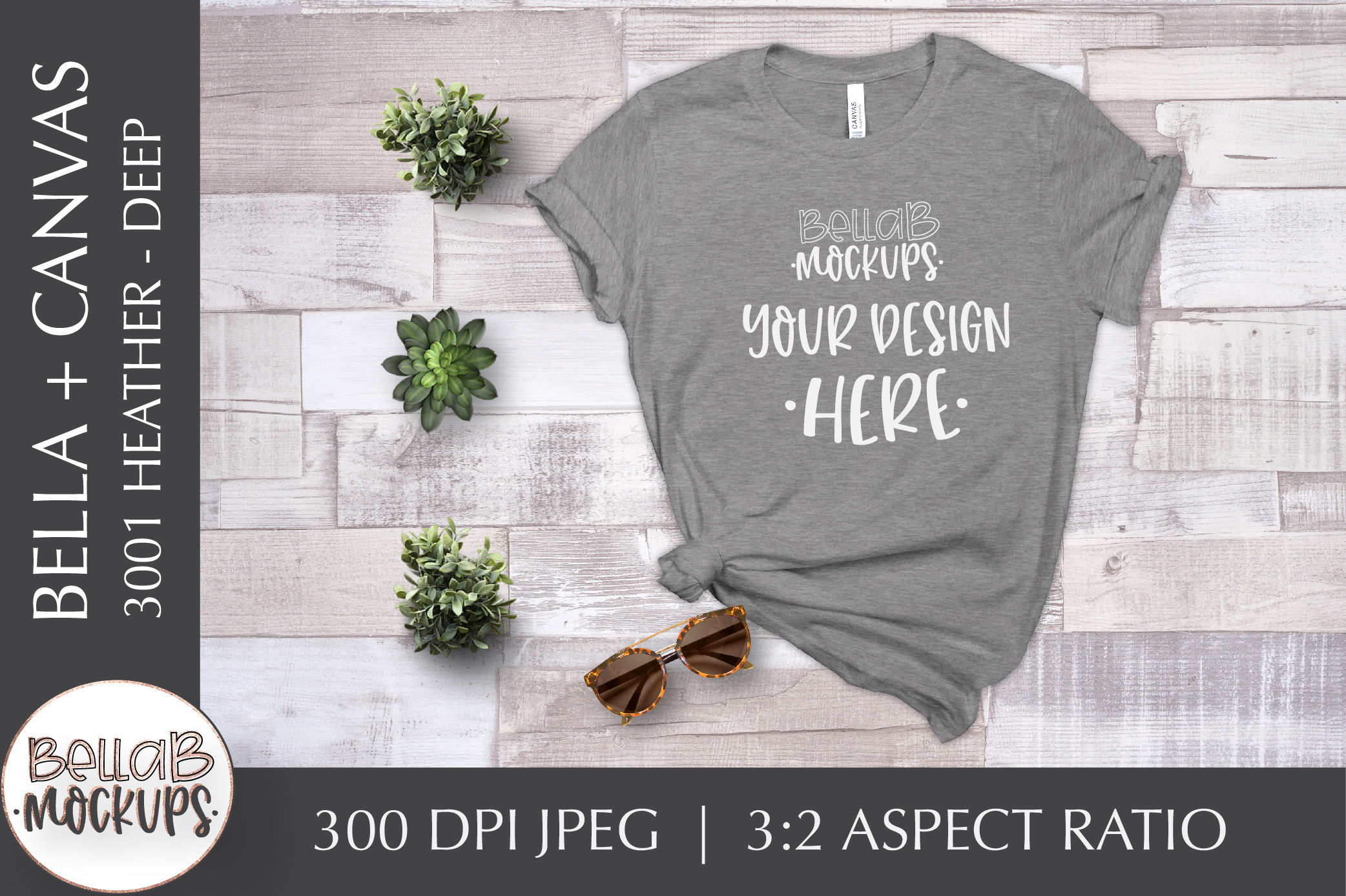 Bella Canvas 3001 Heather T Shirt Mockup, Deep, Grey example image 1