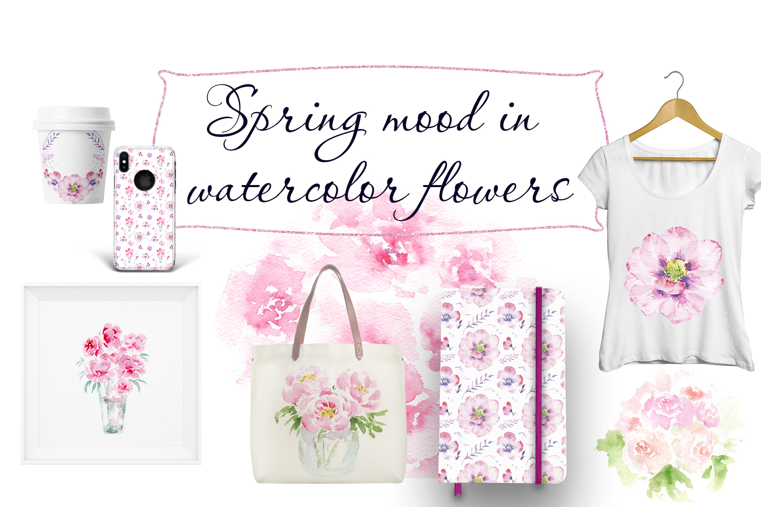 Spring mood in watercolor flowers example image 5