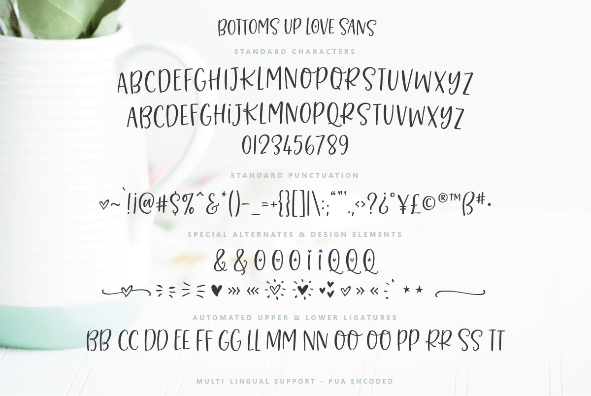 Bottoms Up Love Font Duo & Extras example image 16