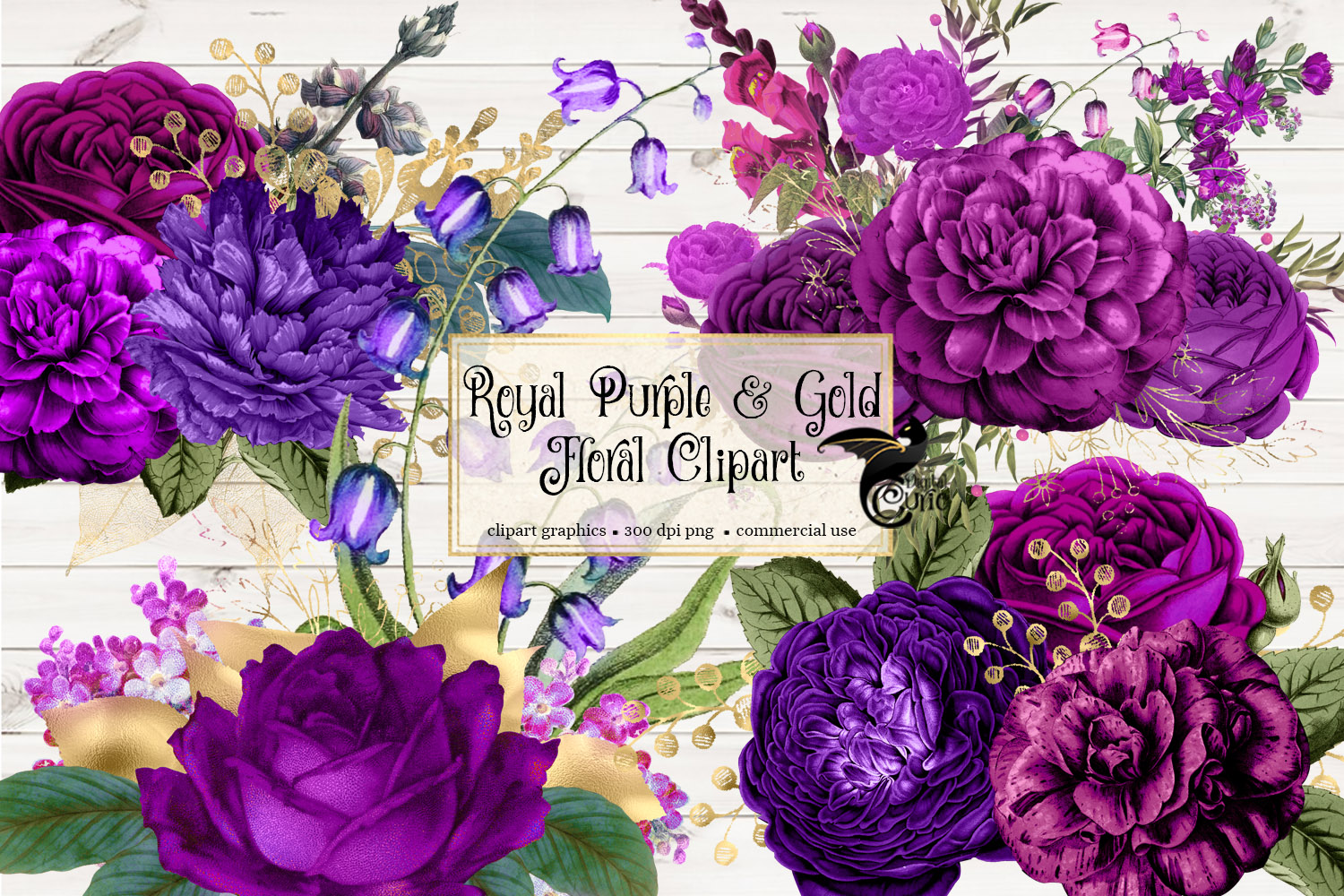 Royal Purple and Gold Floral Clipart (192629