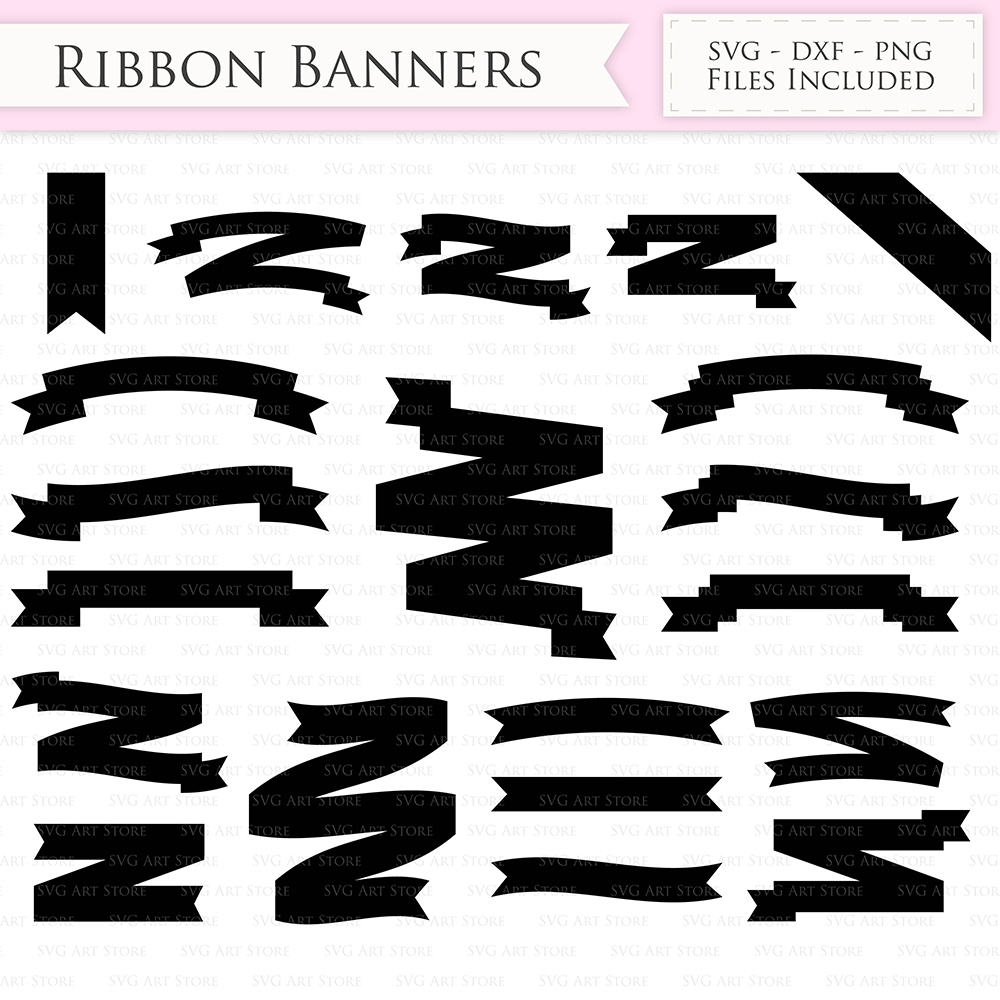 Ribbon Banners SVG text banners svg cutting files Cricut and Silhouette SVG dxf png jpg included. Flags and Ribbons cutting files example image 2