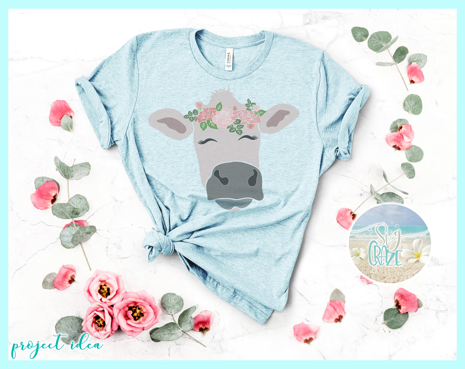 Cow Face With Roses Svg Dxf Eps Png Pdf Files example image 3