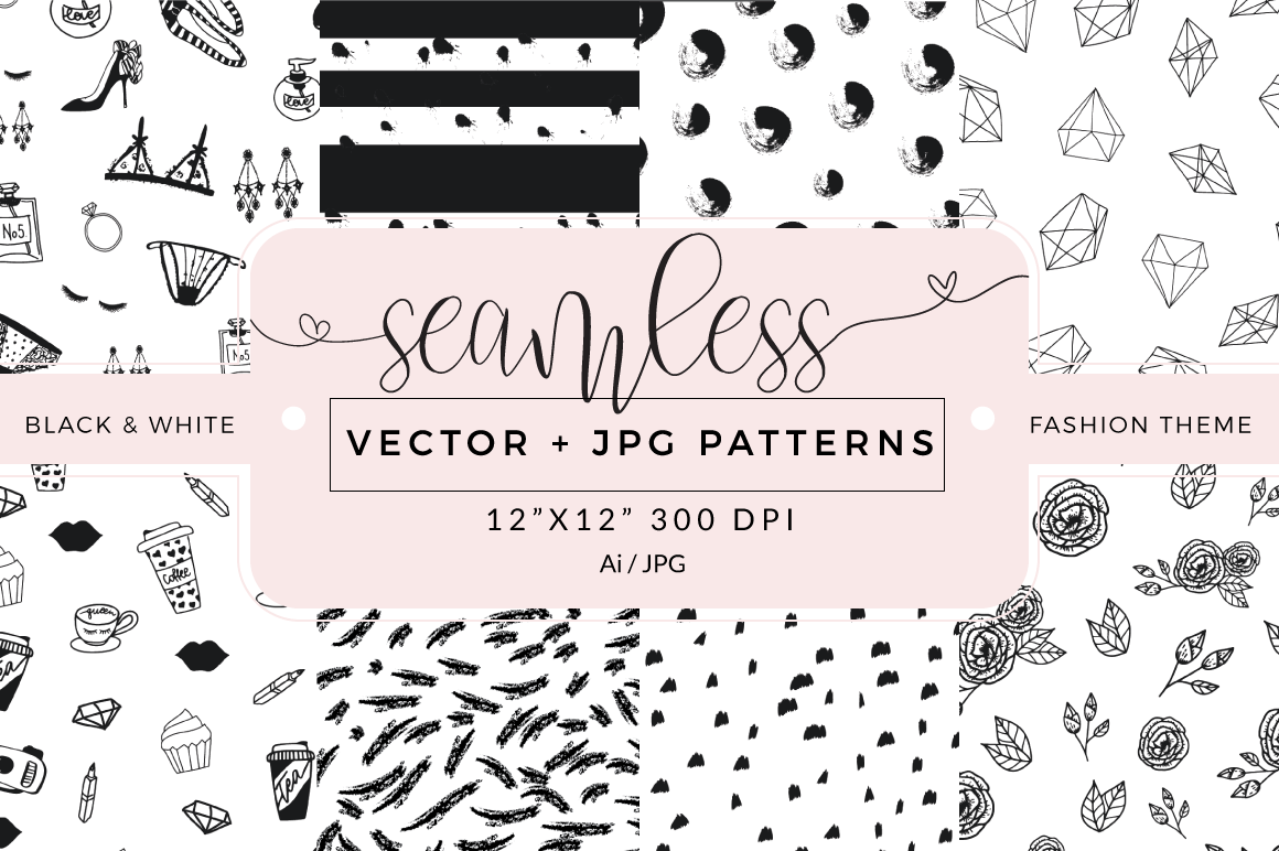 Seamless vector patterns - pack of 8 example image 1