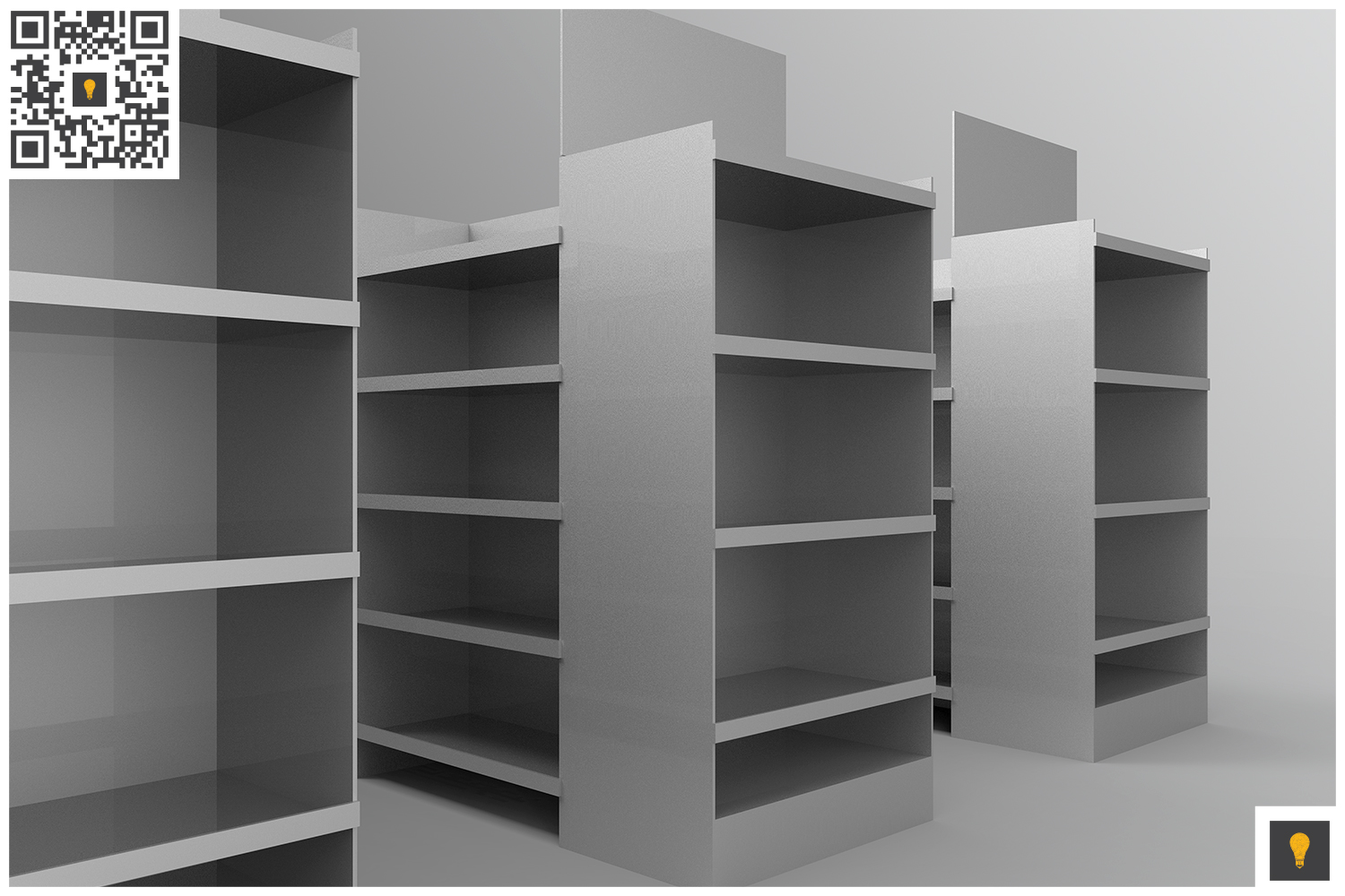 Aisle with Gondola Store 3D Render example image 9