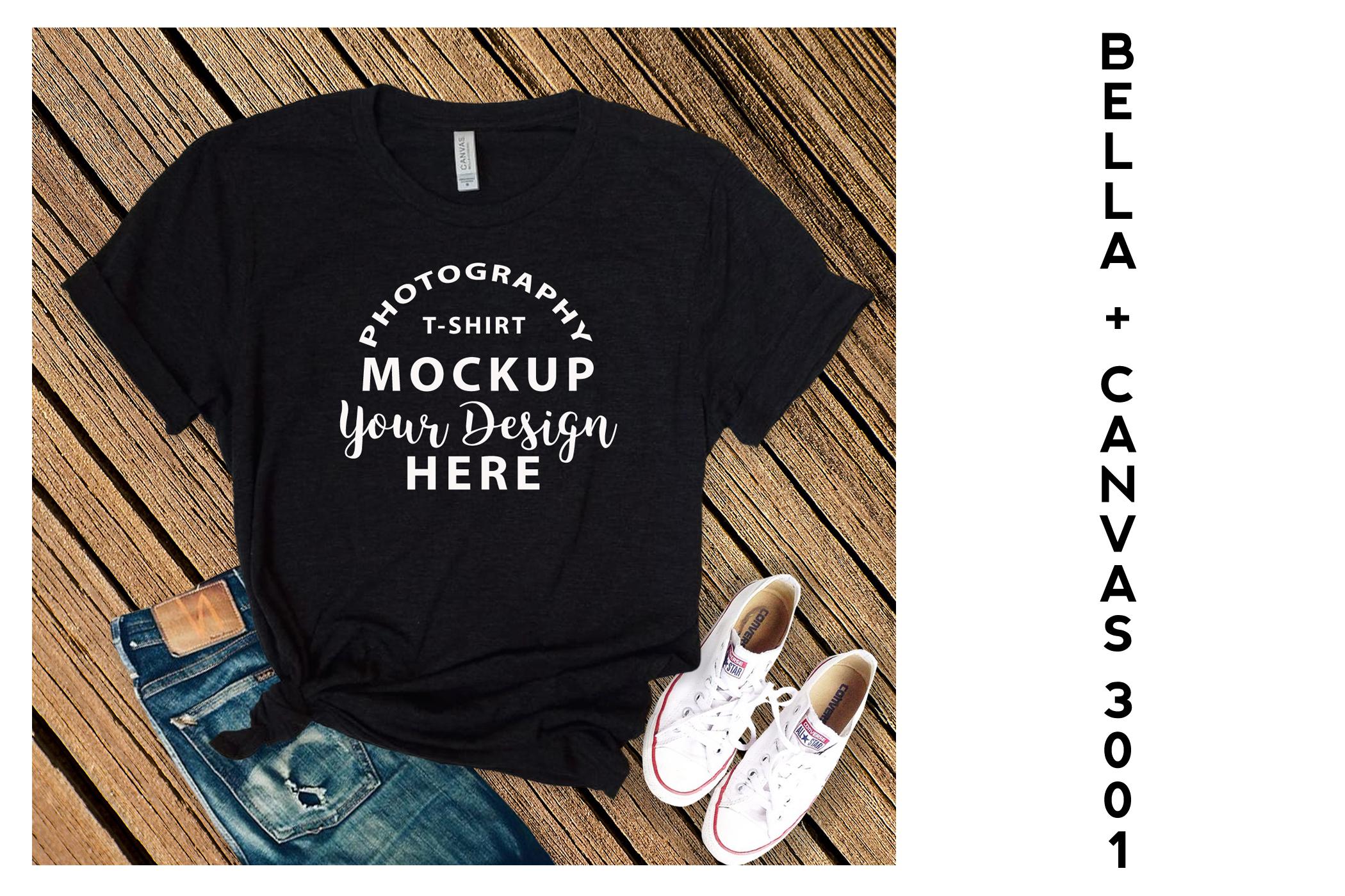 Bella Canvas 3001 T-shirt mock-up, color Black Heather example image 1