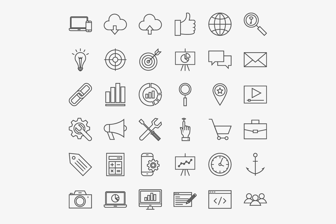 SEO Line Art Icons example image 3