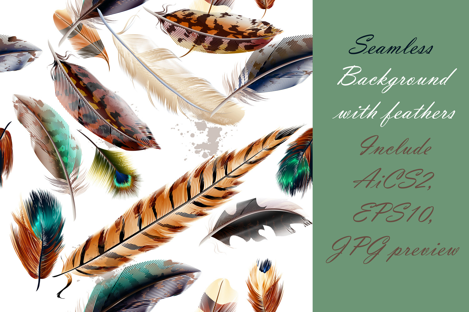 Colorful feather bundle. Vector illustrations and elements example image 10