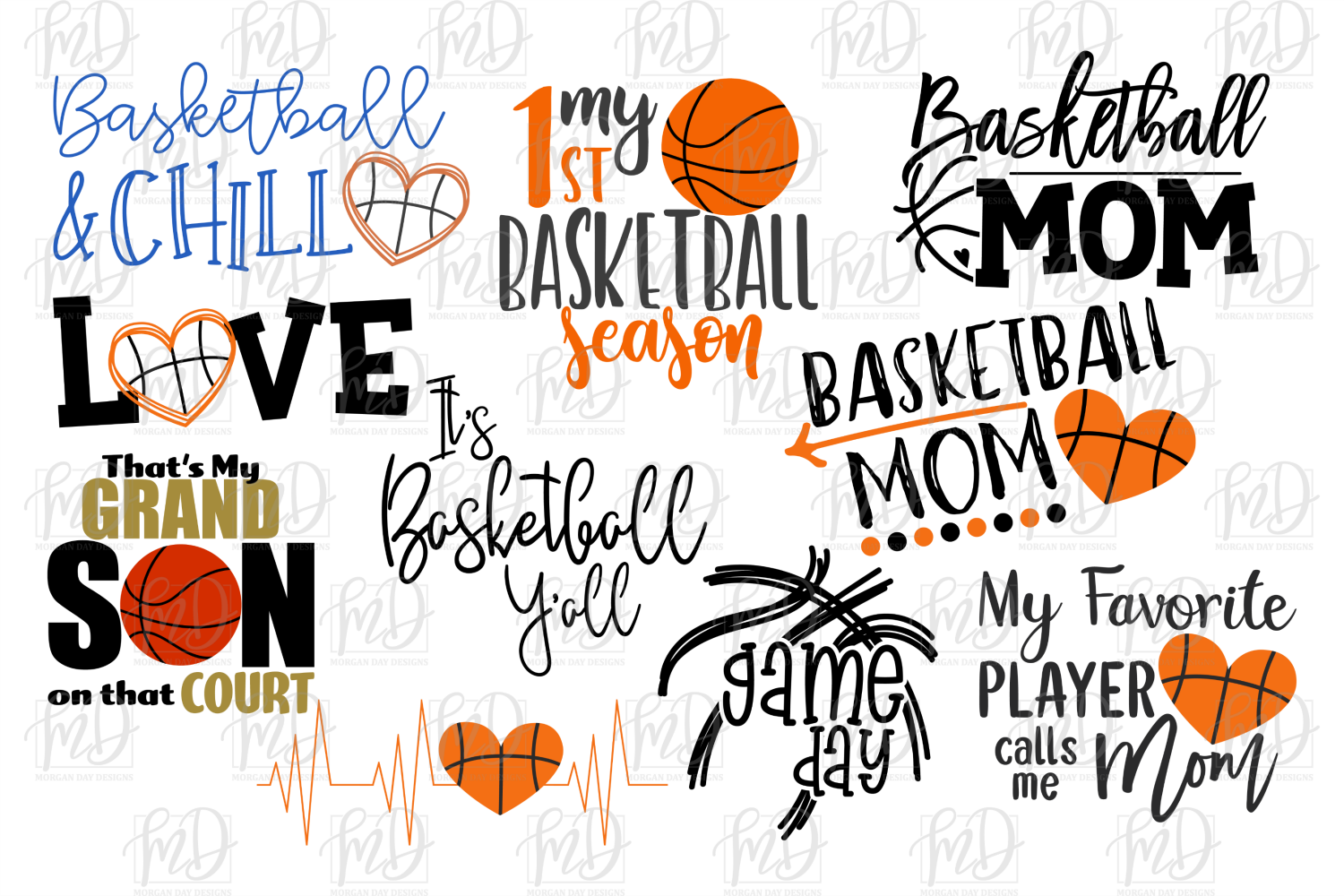 Basketball Bundle 2 SVG, DXF, AI, EPS, PNG, JPEG example image 2