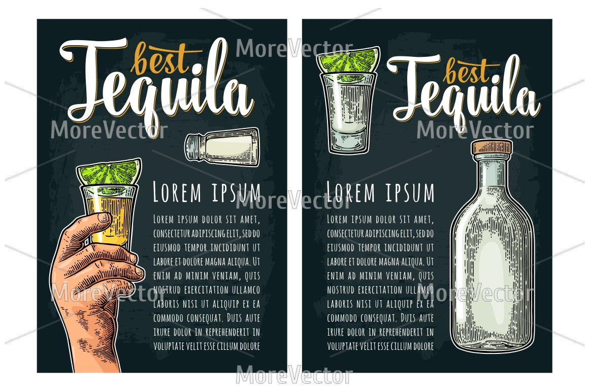 Illustration, pattern and posters Tequila with engraving.  example image 11