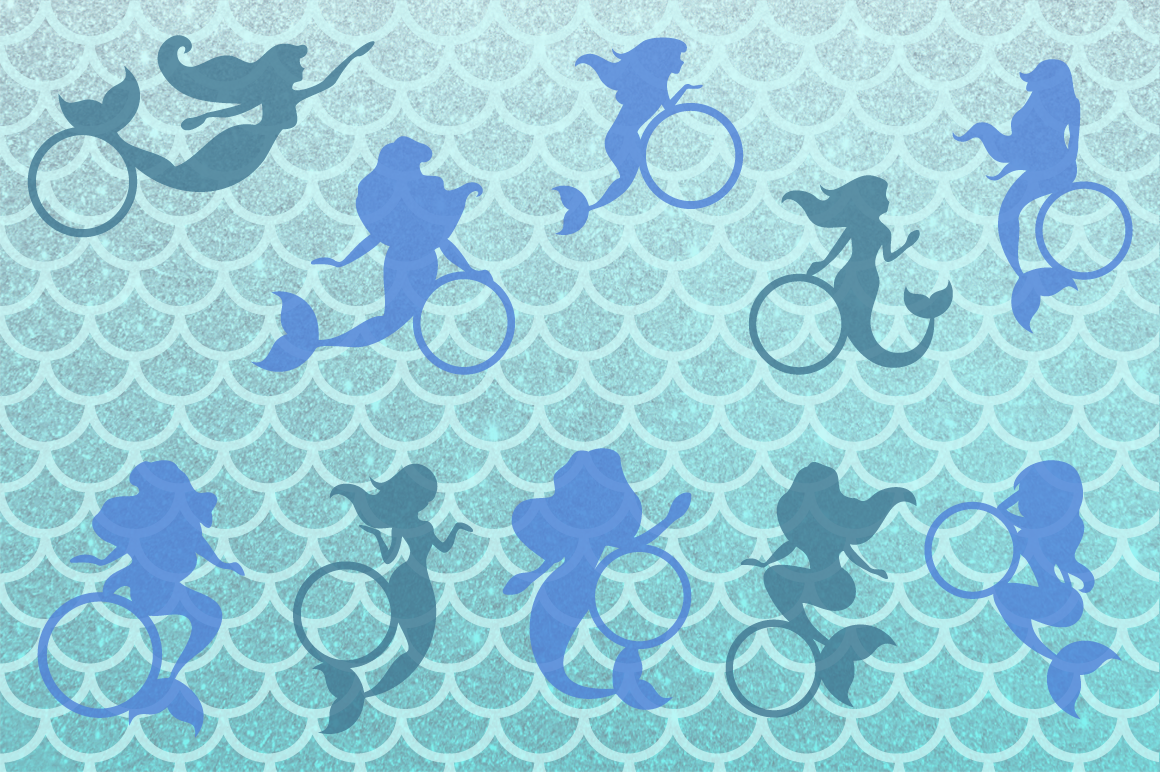 Mermaid Silhouettes | Mermaid Monograms SVG Cut Files example image 3