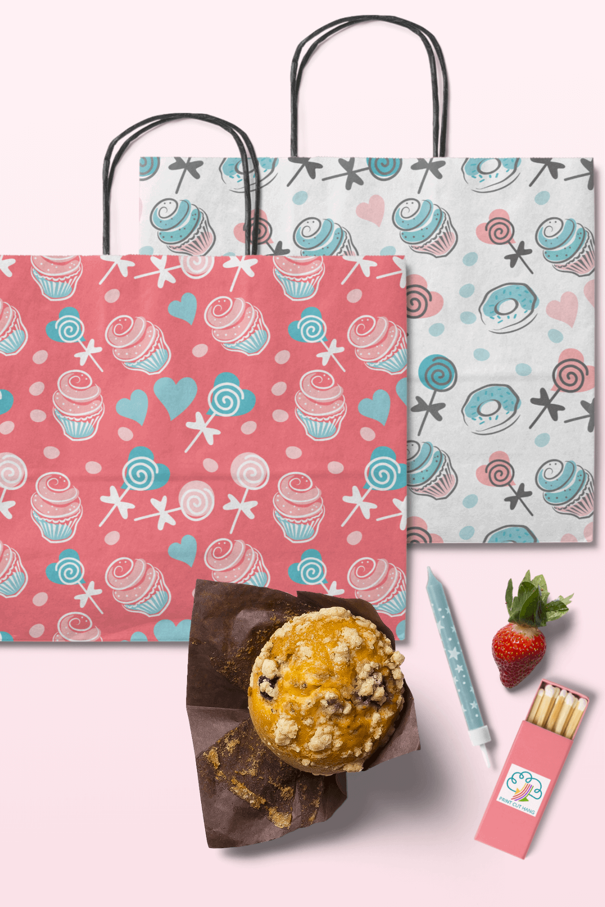 Cupcakes and Donuts Seamless Scrapbooking Papers 10 PNG file example image 11