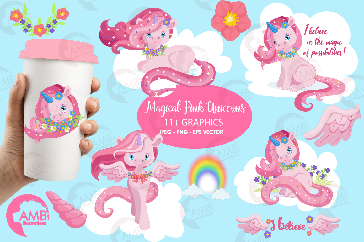 Magical Pink Unicorns clipart, graphics, illustrations AMB-1380 example image 1