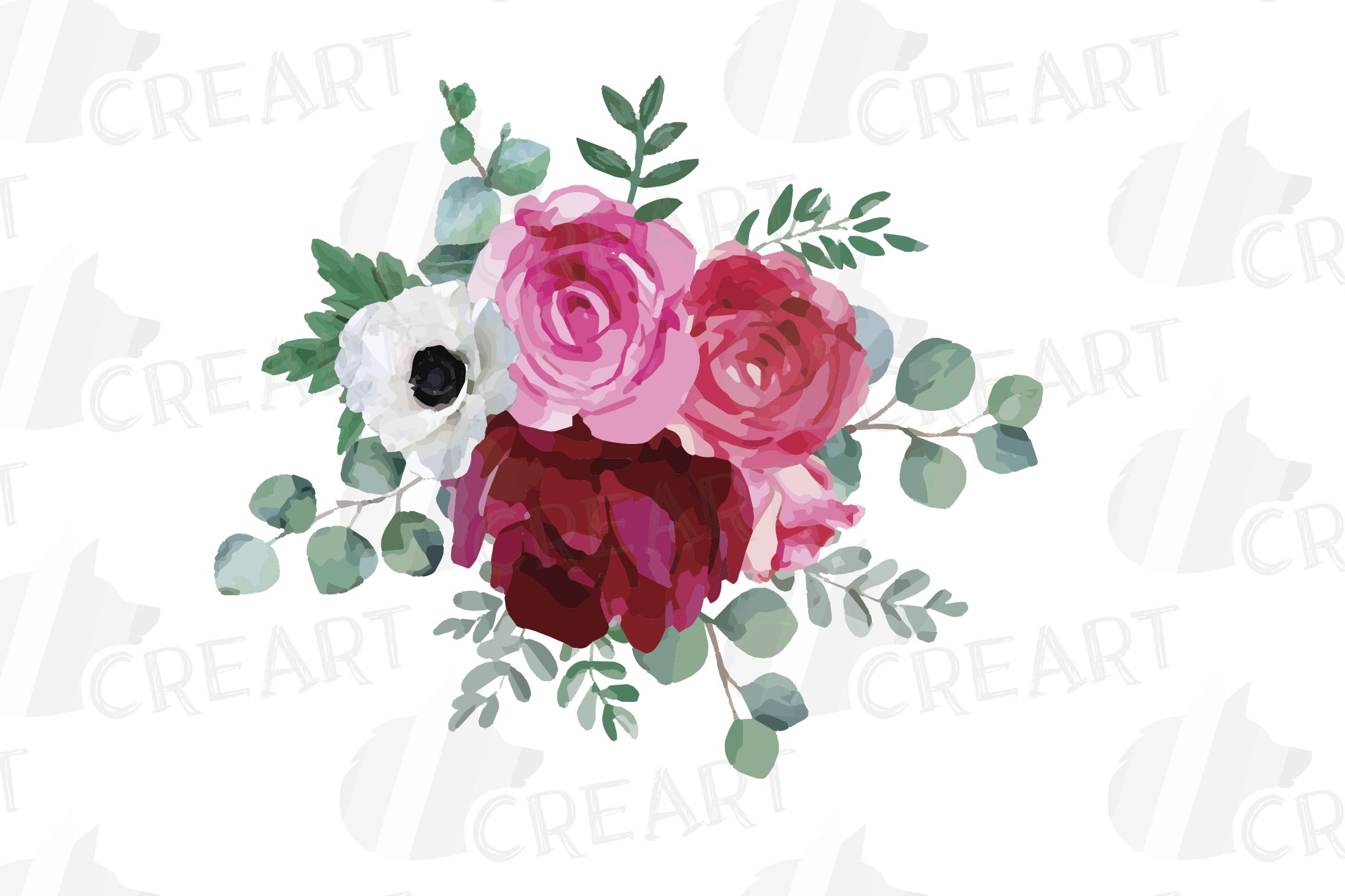 Watercolor elegant floral bouquets 2, rose, anemone decor example image 5