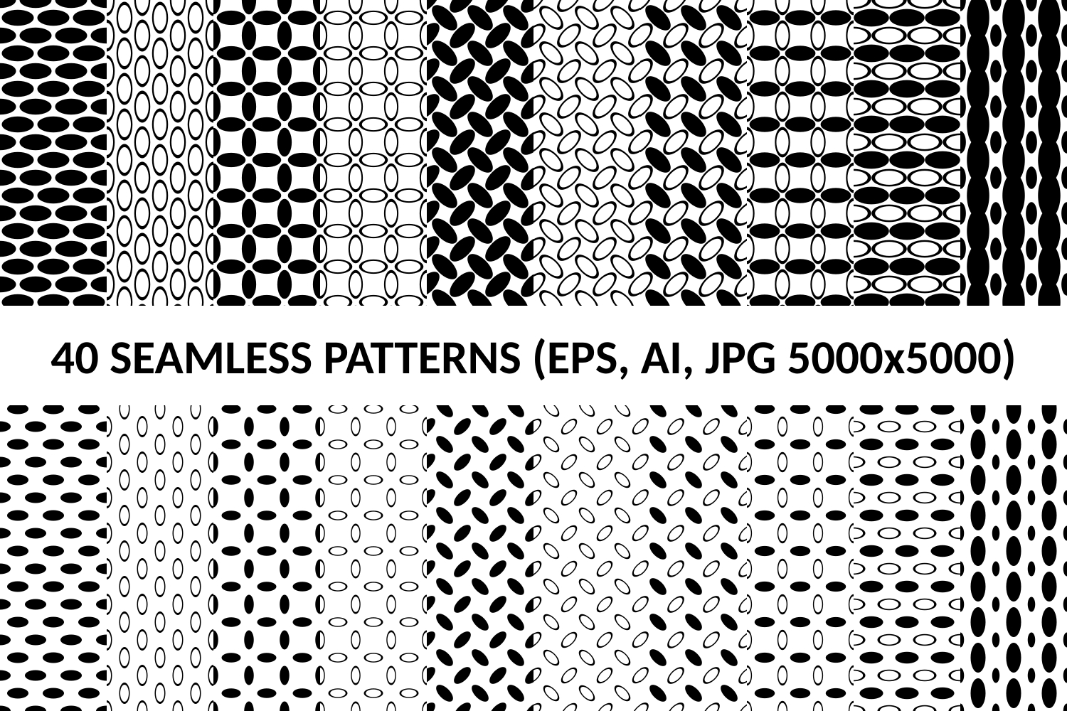 40 Seamless Ellipse Patterns (AI, EPS, JPG 5000x5000) example image 1