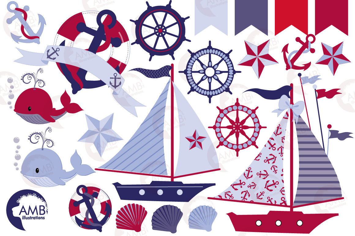 Nautical Whales clipart, graphics, illustrations AMB-521 example image 5