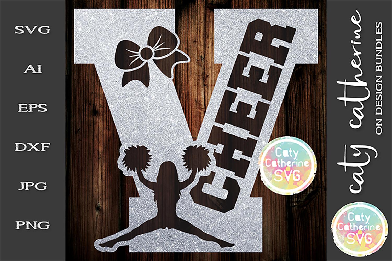 Letter V Cheerleading Monogram Letters SVG Cut File example image 1