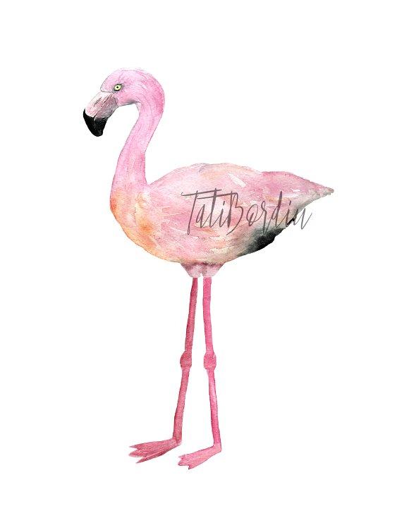 Watercolor Flamingoes Clip Art+Print example image 4