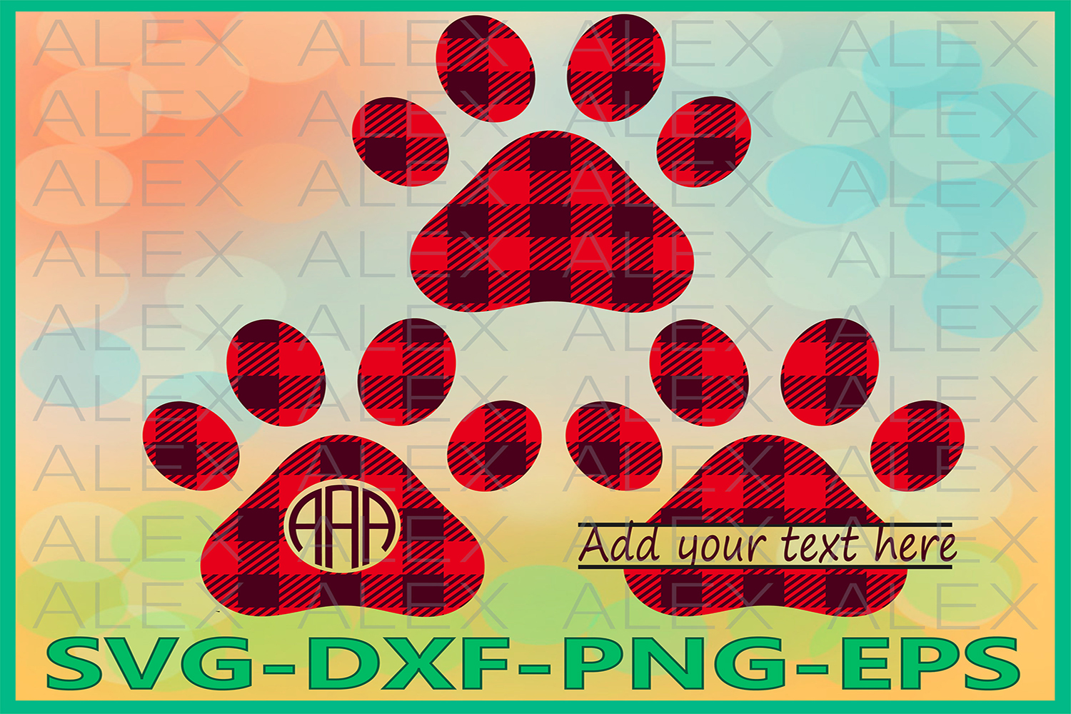 Paws Buffalo Plaid Svg, Dog Svg, Cricut Files, Dog Paws Svg example image 1
