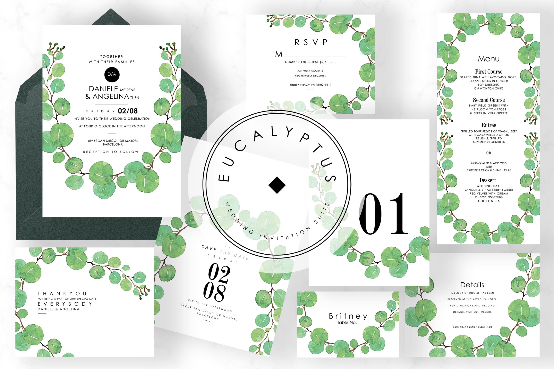 6 IN 1! Eucalyptus Wedding invitations bundle example image 7
