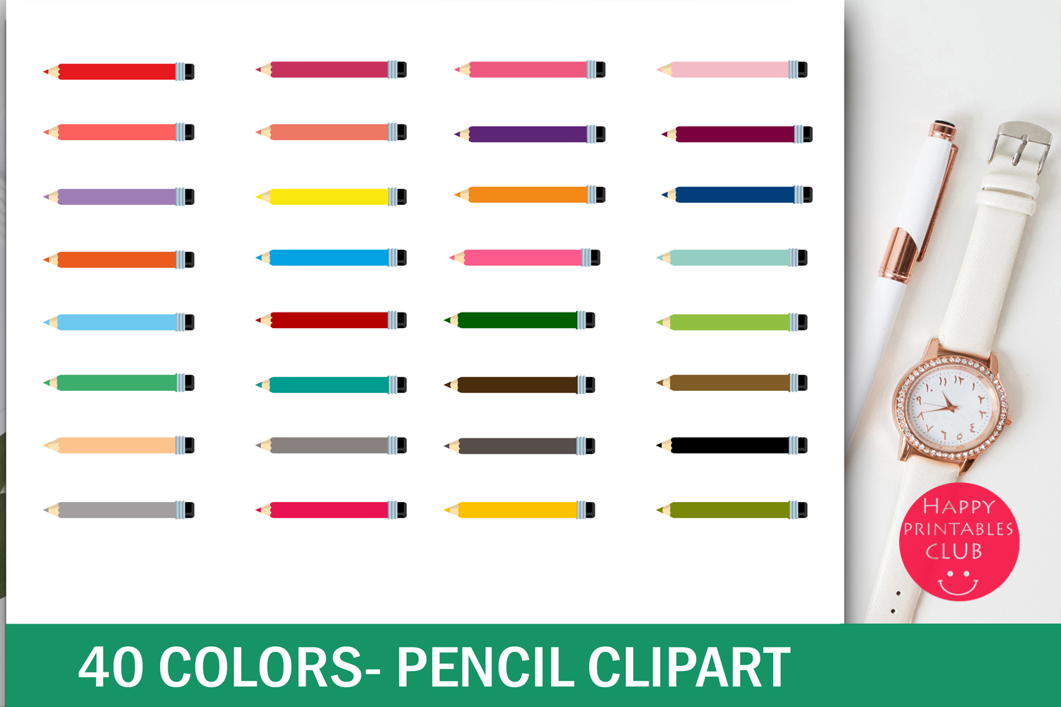 40 Colors Pencil Clipart example image 1