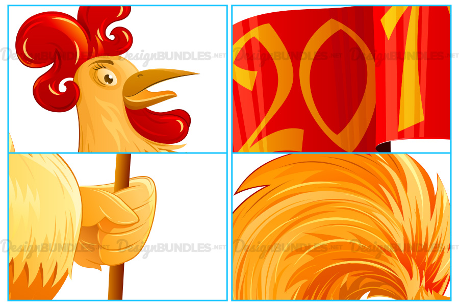 Vector Chinese New Year 2017 Rooster Flag Symbol Cartoon Character Colorful example image 2