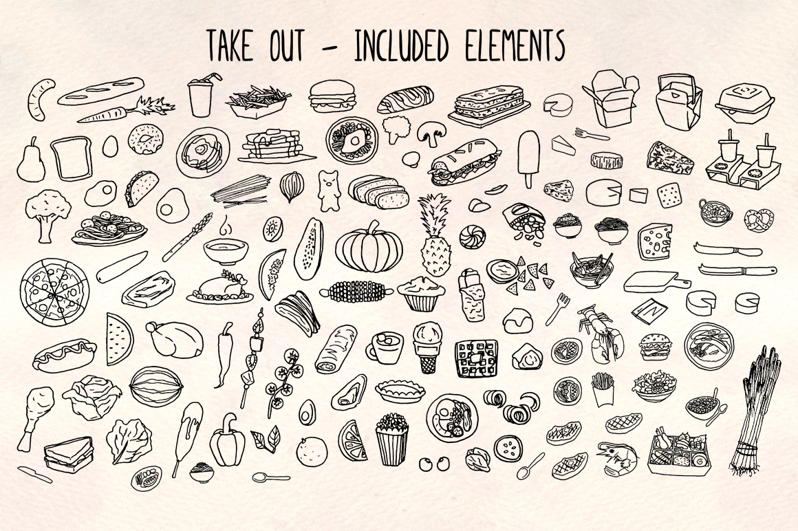 120 Hand Drawn Kitchen and Food Illustrations example image 2