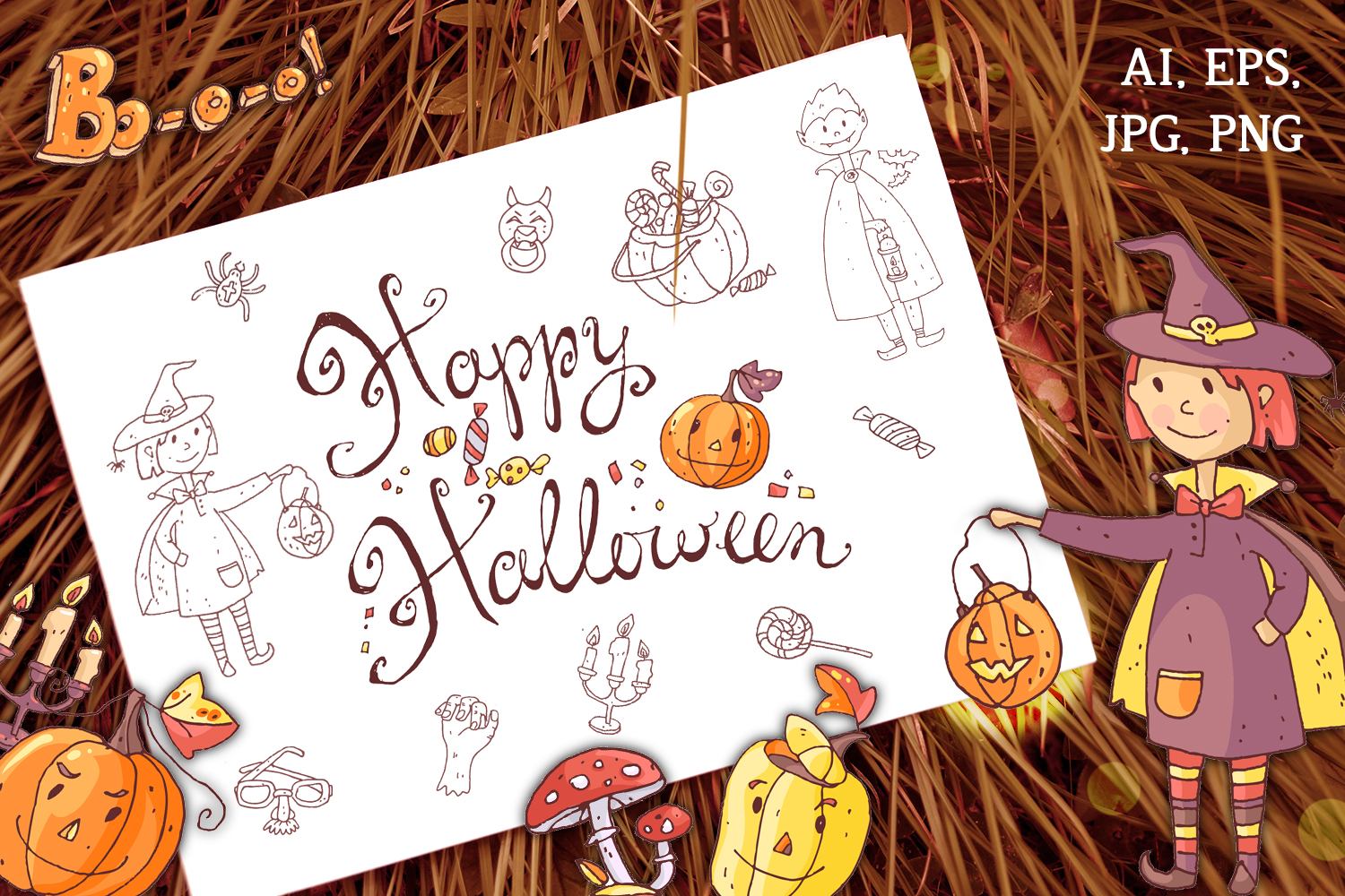 Cute Halloween. Patterns, cards. example image 2