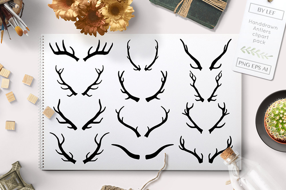 vector antler graphics pack example image 1