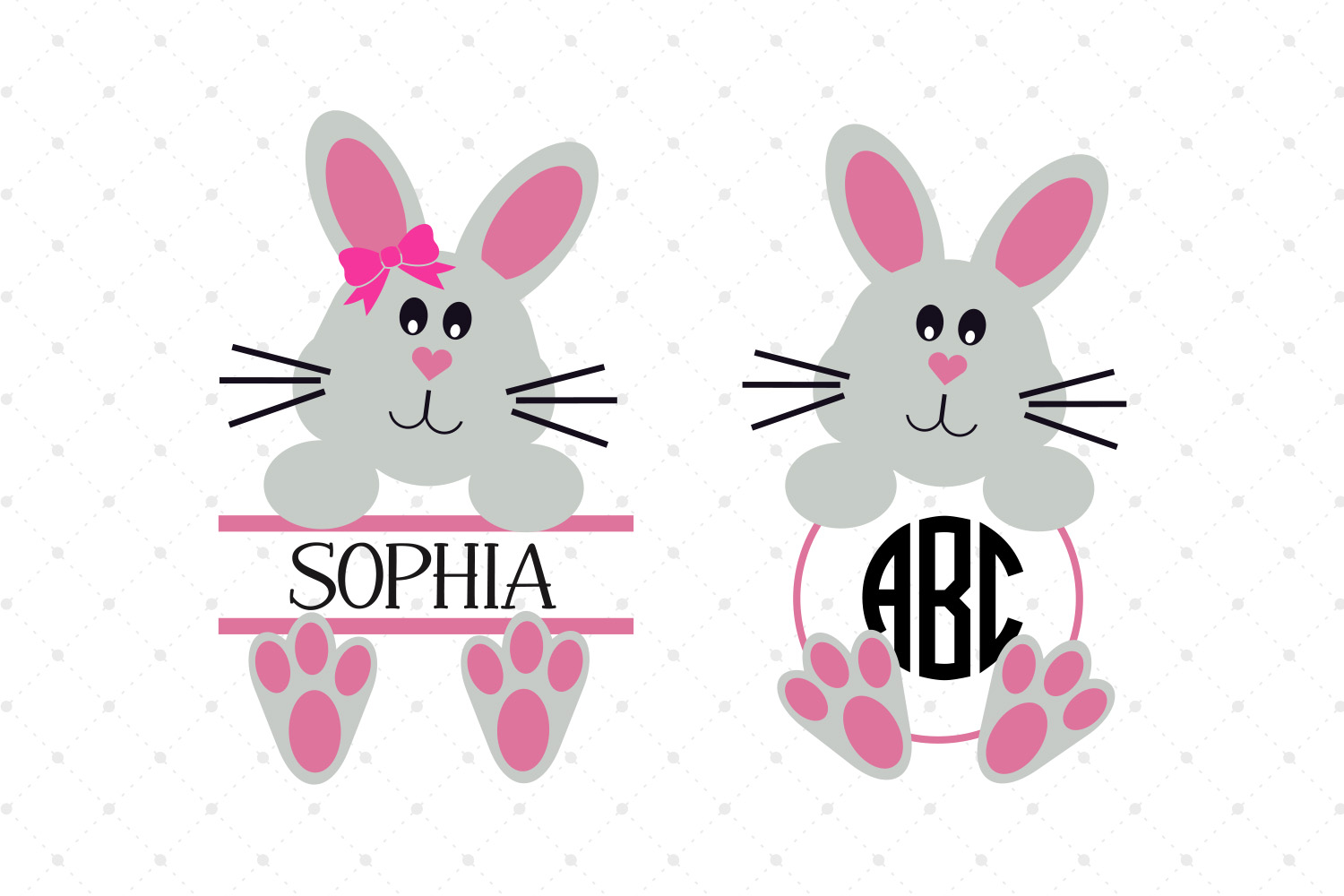 Easter BunnyMonogram Frames SVG Cut files example image 1
