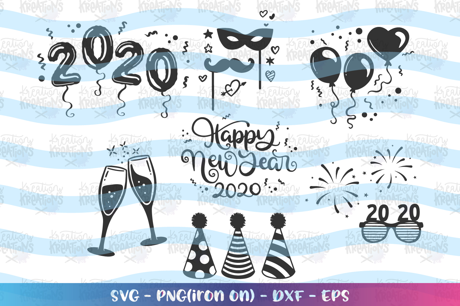 Happy New Year Elements svg 2020 clipart Party Hat balloons example image 1