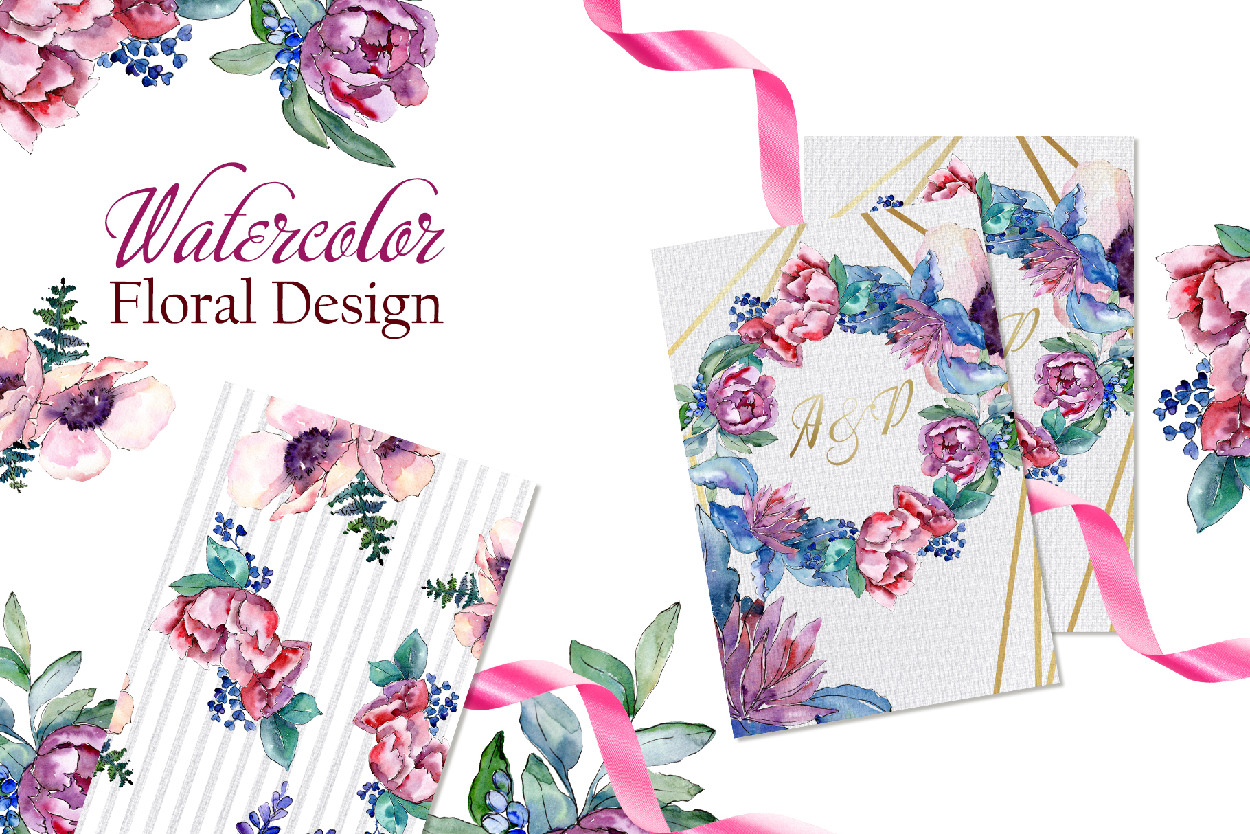 Bouquets with peonies Phuket Watercolor png example image 3
