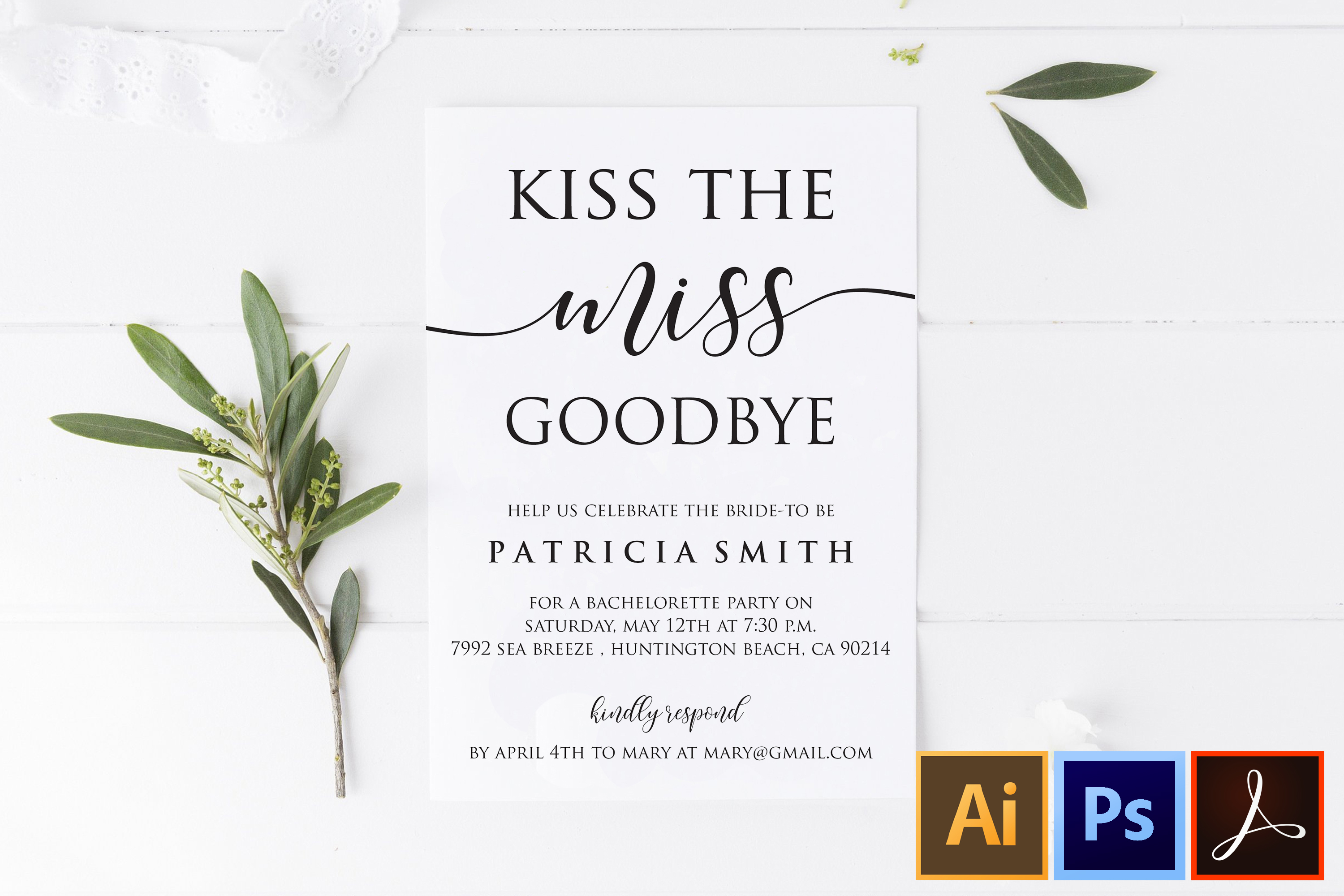 DIY Kiss The Miss Goodbye Bachelorette Party Invitation example image 1