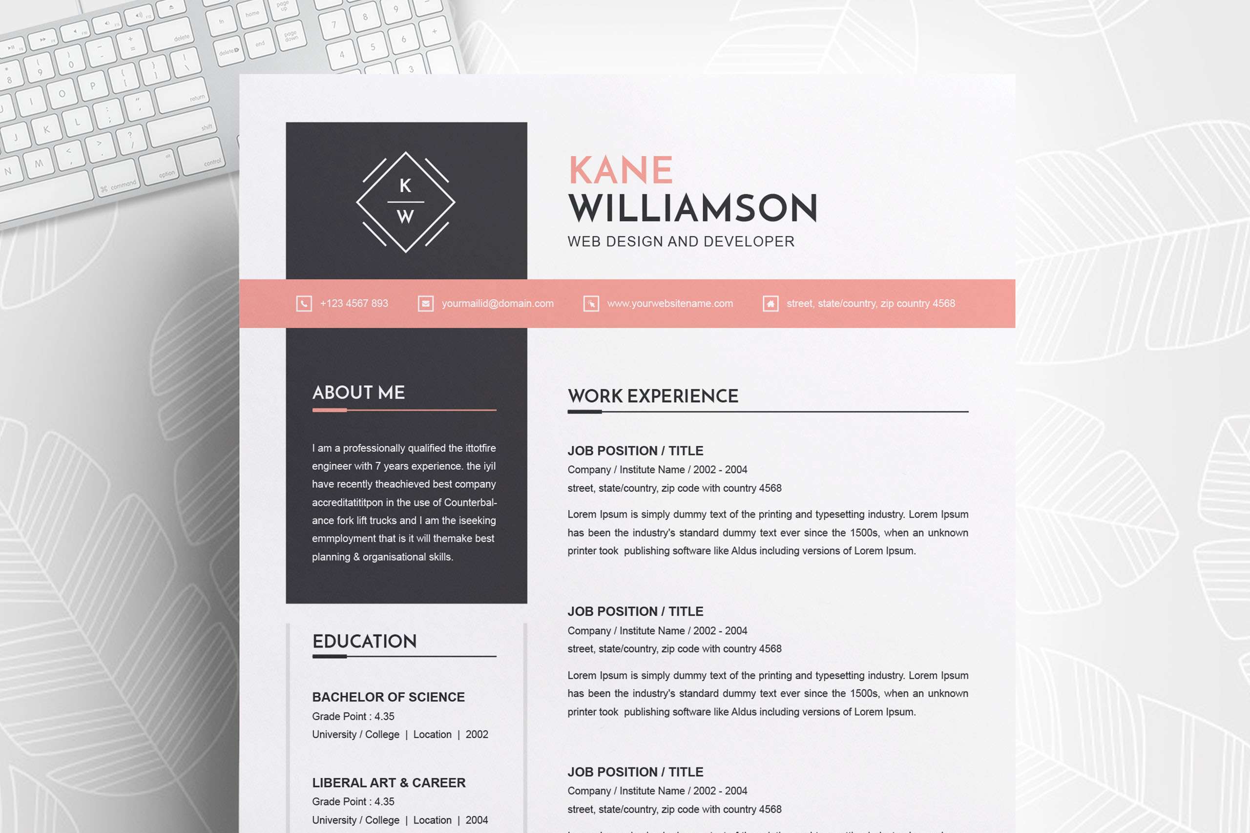 Professional Resume Template | MS Word CV Design Template example image 1