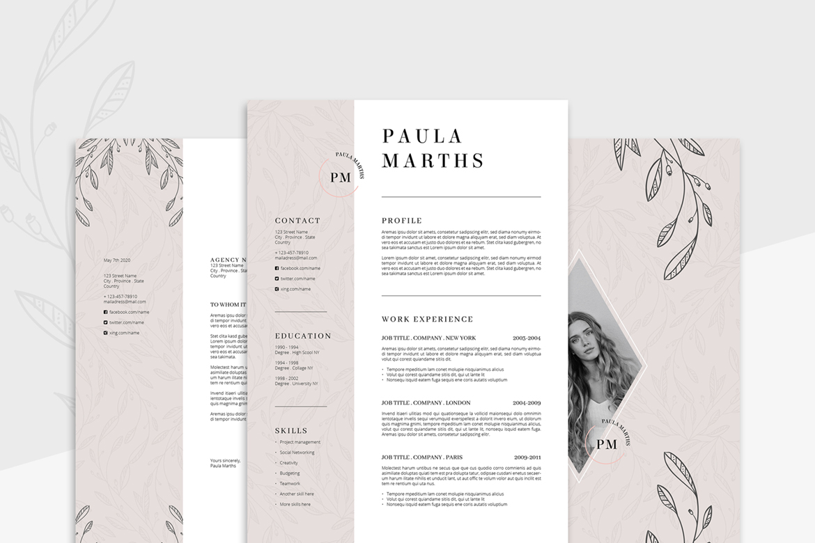 FLORAL Resume/CV + Cover Letter + Title example image 1