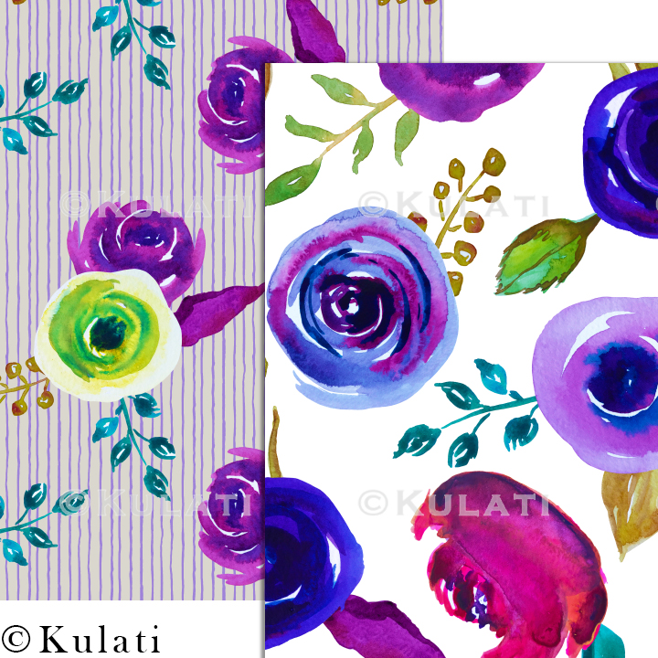 Watercolor Floral Seamless Patterns example image 3