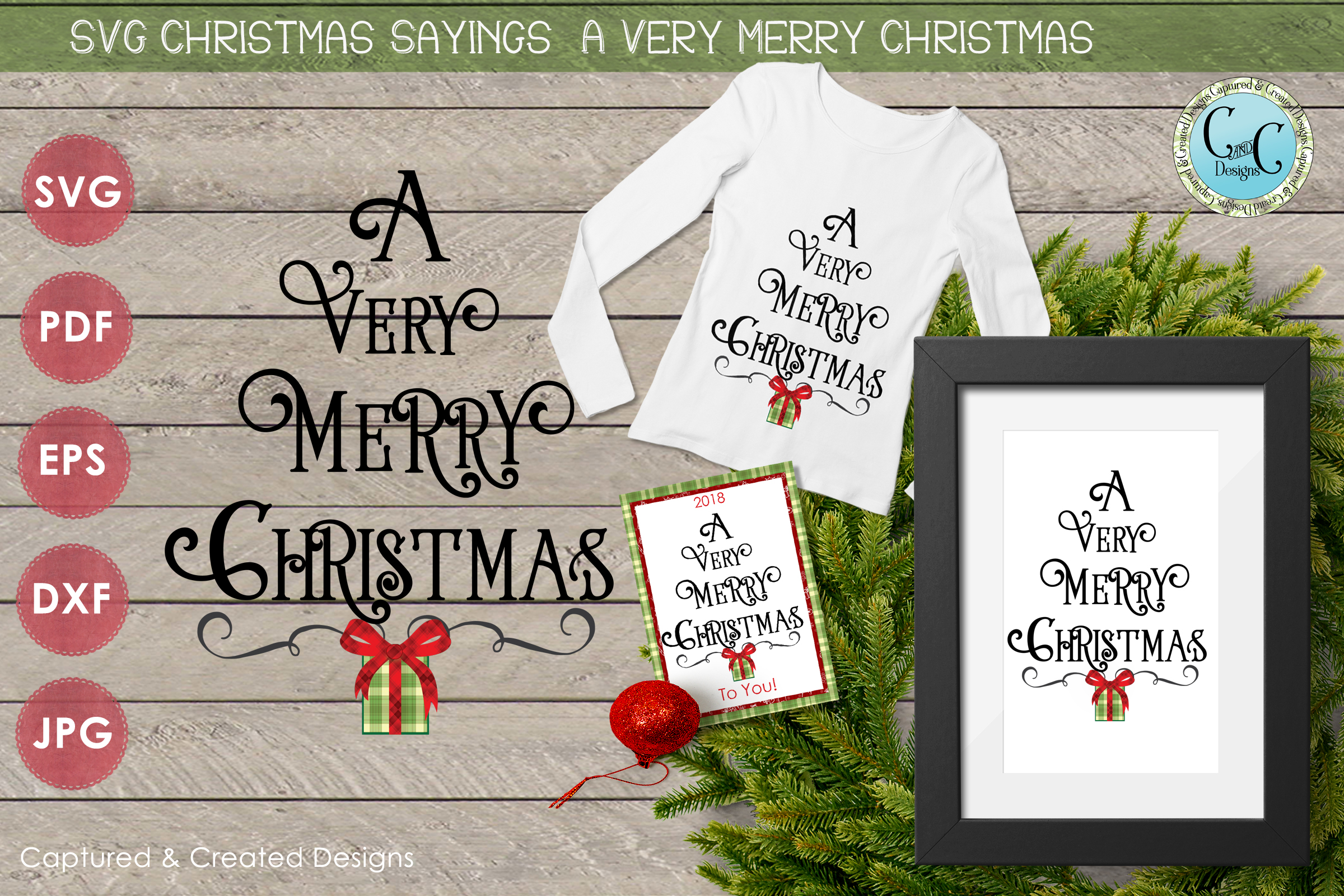 SVG Christmas Sayings- A Very Merry Christmas Tree Shape example image 1